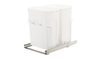 Knape & Vogt 35 Quart Double In Cabinet Pull-Out Bottom Mount Trash Can
