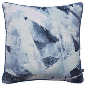 Aura Blue Geometric Cushion
