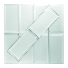 Frosted Elegance 3 x 6  Beveled Subway Glass Subway Tile in Matte Mint Blue, Box