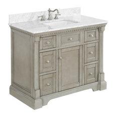 "Sydney Bath Vanity, Weathered Gray, 42"", Carrara Marble, Single Sink"