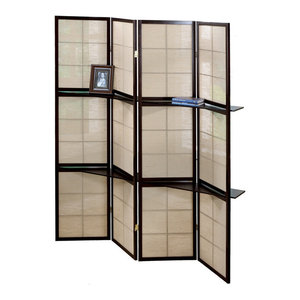 Folding Screen, 4 Panel, Cappuccino, 2 Display Shelves