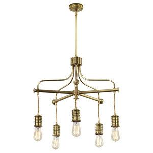Industrial 5-Light Chandelier, Aged Brass