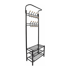 Contemporary Storage Organiser, Metal With 3 Open Shelves and 18-Hook, Black
