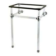 Fauceture Console Basin Holder With Acrylic Pedestal, Polished Chrome