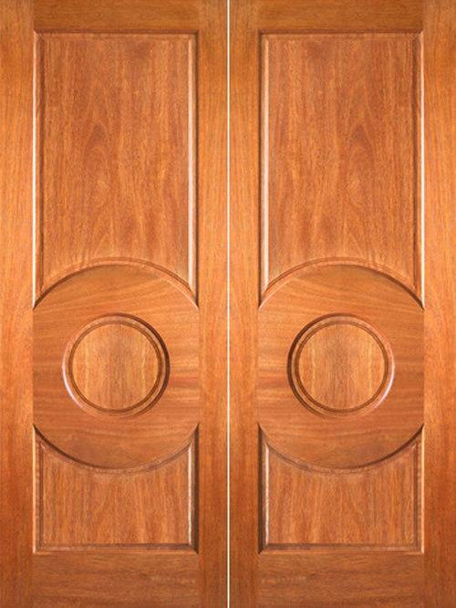 P 680 Interior Wood Mahogany 3 Panel Circle Panel Double Door   Interior  Doors
