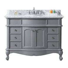 "Norhaven 48"" Single Bathroom Vanity Set, Gray With No Mirror, Round Basin"