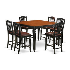 Counter Height Set, Square Table and 6 Kitchen Chairs, Black Cherry Faux Leather