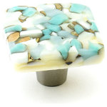 """Windborne Studios - Pebbles Glass Knobs and Pulls, Turquoise, 1.5"""" Square - The Pebbles Collection is a combination of various glass colors to create a """"pebble"""" design inspired by Nothern Michigan Shorelines. The Turquoise square knob combines pieces of turquoise, white, and sand colored glass."""