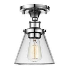 Globe Electric - Mercer 1-Light Chrome Flush Mount Ceiling Light - Flush-mount Ceiling Lighting