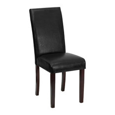 MFO Black Leather Upholstered Parsons Chair
