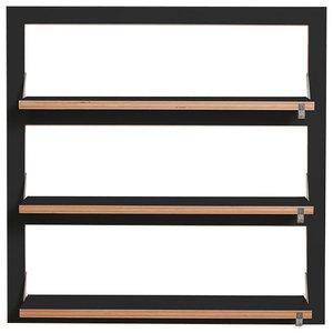 Fläpps Triple Slim Birch Plywood Shelf, Black