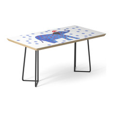 "Society6 Coffee Table, Birch, Steel, 17"", Holidays Elephant By Manitarka"