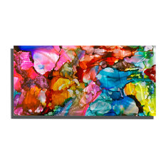 "Abstract Multicolored Metal Painting, ""Jubilee 1"" by Jon Allen, 36""x18"""