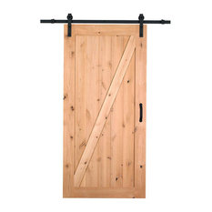 Merry Products   Farm Style Sliding Door, Unfinished With Sliding Door  Hardware Kit   Interior