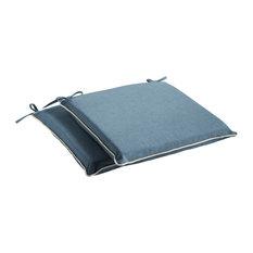 Sunbrella Spectrum Denim / Cast Pumice Outdoor Chair Pad Set, 17x17
