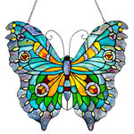 """River of Goods - 20.5"""" Stained Glass Swallowtail Butterfly Window Panel - Colorful elegance. Brighten up your window with this striking butterfly panel. It is handcrafted with over 186 pieces of glass and 35 cabochons. The panel has a rainbow of vibrant colors. The yellow and red cabochons accent the calming shades of blue, green, and orange. This item is sure to be a wonderful accent for your home."""