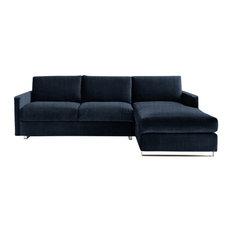 Felix Corner Sofa Bed, Navy, 3 Seater, Right Hand Facing, Euro King