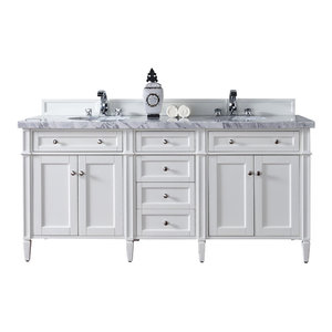 """Brittany 72"""" Double Vanity Cottage White, Base Cabinet Only"""