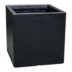 """Modern Concrete Square Pot Planter, Black, 16""""x16""""x16"""""""