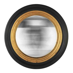 EMDE Round Convex Mirror, Black and Gold, Small