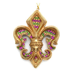 piazza fleur de lis ornament purple green and gold christmas ornaments