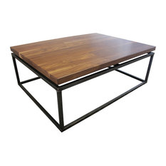 Black Walnut Floating Top Steel Base Coffee Table No Stain - Satin Finish 45-inchx