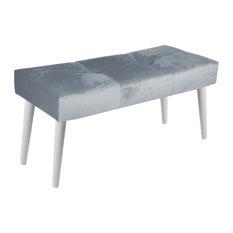 Paris Velvet Upholstered Bench With White Legs, Light Blue