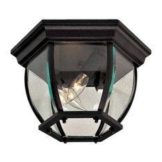 The Great Outdoors Wyndmere 3-Light 7 inch Outdoor Ceiling Light in Black