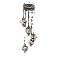 Handmade Turkish Tiffany Glass Mosaic 5-Ball Chandelier