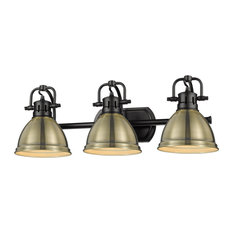 Duncan 3 Light Bath Vanity, Matte Black With Aged Brass