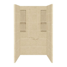 """Transolid DKW4848-96 Solid Surface 48""""x34""""x80"""" Shower Wall Set, Almond Sky"""