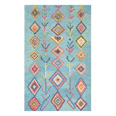 "Hand-Tufted Bohemian Moroccan Diamond Rug, Turquoise, 2'6""x10' Runner"