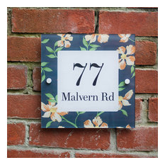 Floral Acrylic Modern House Number Sign