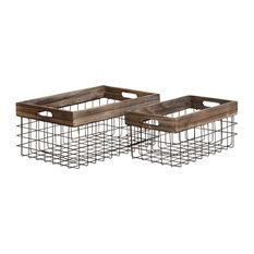 Metal Wood Basket, 2-Piece Set