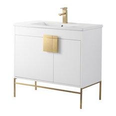 "Shawbridge 36"" Bathroom Vanity, White, Satin Brass Hardware"