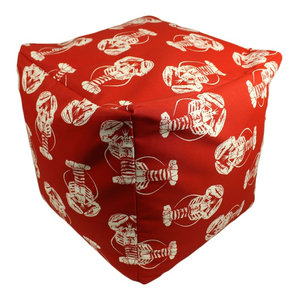 Sea of Lobsters Red Indoor/Outdoor Square Pouf Ottoman Cube