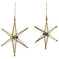 "Star Ornament, Set of 4, 5.5""H, 7.25""H Glass/Metal"