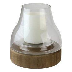 "10.25"" Transparent Glass Pillar Candle Holder With Wooden Base"