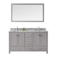 "Caroline Avenue 60"" Double Bathroom Vanity, Cashmere Gray With Square Sink"
