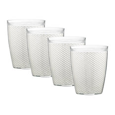 Kraftware Fishnet Double Wall Glasses, White, 14 oz, Set of 4