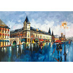 "Bayland Collection - ""Conciergerie"" Oil Painting Print on Wrapped Canvas; Modern Fine Art - Up the ante of your gallery wall with this hand-wrapped canvas print, crafted in the United States.Add this piece above your favorite sofa for a museum-worthy focal point."