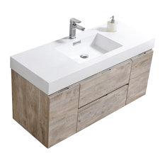 "Bliss 48"" Nature Wood Wall Mount Modern Bathroom Vanity"