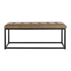 Safavieh   Safavieh Reynlds Bench, Tan And Black   Upholstered Benches