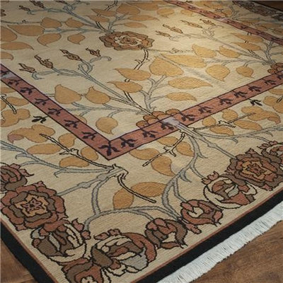 Traditional Rugs Cream and Orange Arts and Crafts Soumak Rug