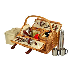 Sussex Picnic Basket For Two With Coffee, Wicker and London Plaid