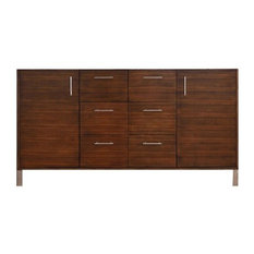 "60"" Metropolitan Single Sink Cabinet Only Without Top, American Walnut"