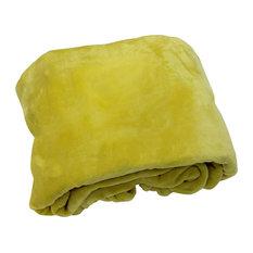 Flannel Fleece Throw, Chartreuse Green