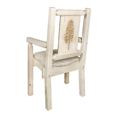 Homestead Captain's Chair With Laser Engraved Pine Tree Clear Lacquer Finish