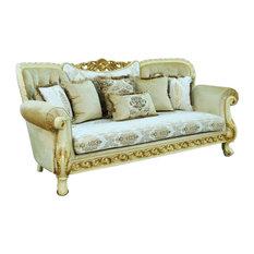 Fantasia Luxury Wood Trim Sofa Gold & Off White