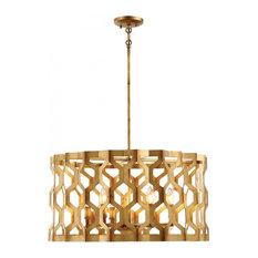 Metropolitan Coronade 6-Light Pendant (Convertible), Pandora Gold Leaf